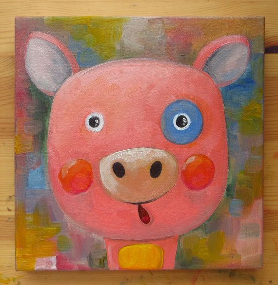 Piggy Portrait Original Art Animals Oil on canvas by MikiMayoShop