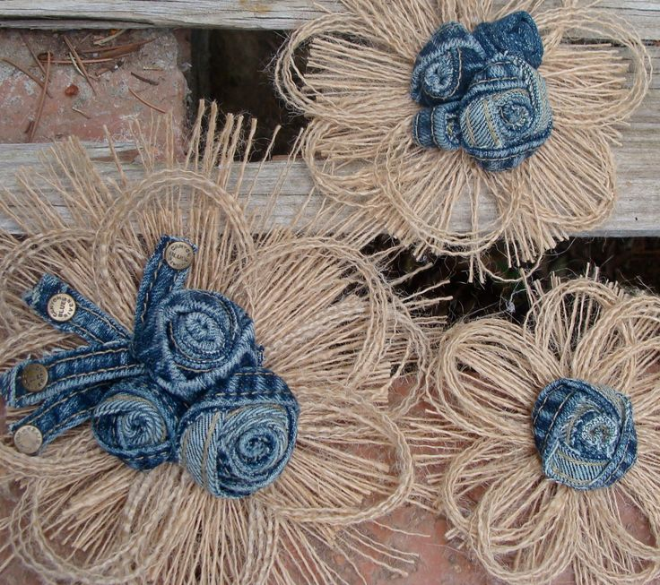 Eco Wedding - Rustic Wedding Cake Topper - Country Western Burlap and Denim Set of 3. $21.95, via Etsy.