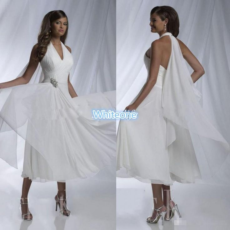 2016 Tea Length Short Wedding Gowns White Chiffon Halter Sexy Bridal Dresses Sleeveless A Line Bead Pleat Cheap Garden Beach Wedding Dresses Designer Gown Discount Bridal Gowns From Whiteone, $98.96| Dhgate.Com