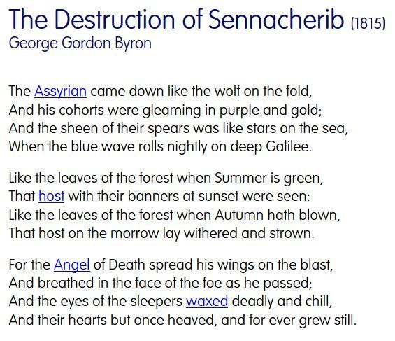 analysis of lord byron s destruction of Context of 'the destruction of sennacherib' by lord byron who was lord byron lord byron was famous for his scandalous lifestyle his marriage broke up, which was highly frowned upon in those days, and he had a daughter with his half sister.