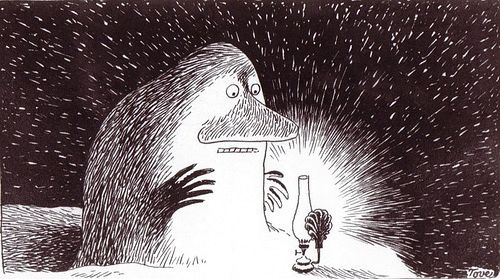 Everyone needs warmth and light, even The Groke. Mörkö on yhtä ihana  ku varikset. #Moomins