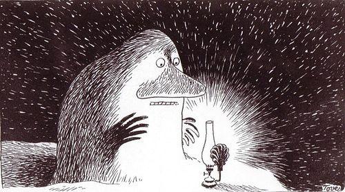Everyone needs warmth and light, even The Groke. Mörkö on yhtä ihana ku varikset. #Moomins