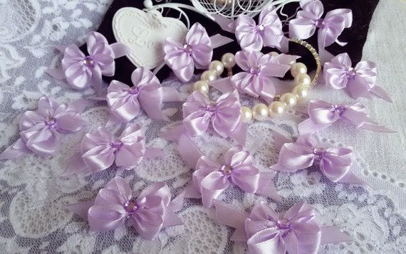 15 satin ribbon bows light purple applique by Rocreanique