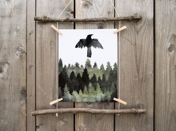 Raven Raven Lover Gift Viking Decor Odins Ravens Huginn Muninn Viking Norse Pagan Wiccan Spirit Animal