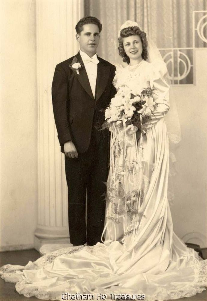 Vintage Wedding Photo Bride Groom And She Wore Satin