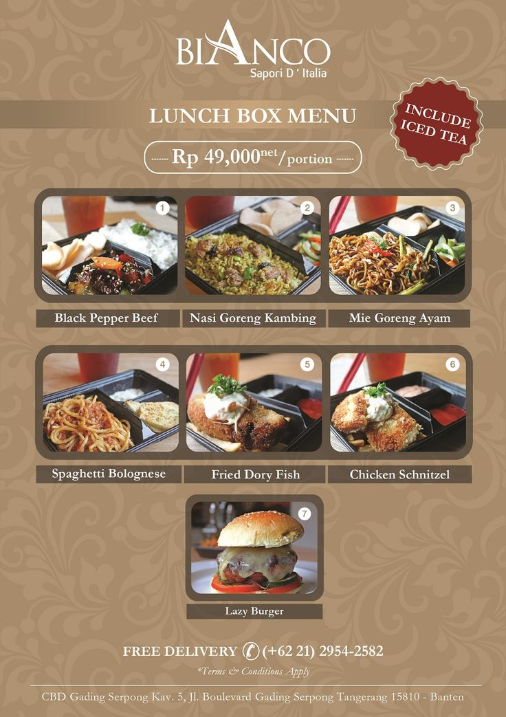 Bianco Lunch Box Menu offers a mouth-watering plate lunch menu complimented by iced tea. Rp 49,000net/portion. *Free Delivery For more info and reservation please call (+62 21) 2921-5999 or (+62 21) 2954-2582.