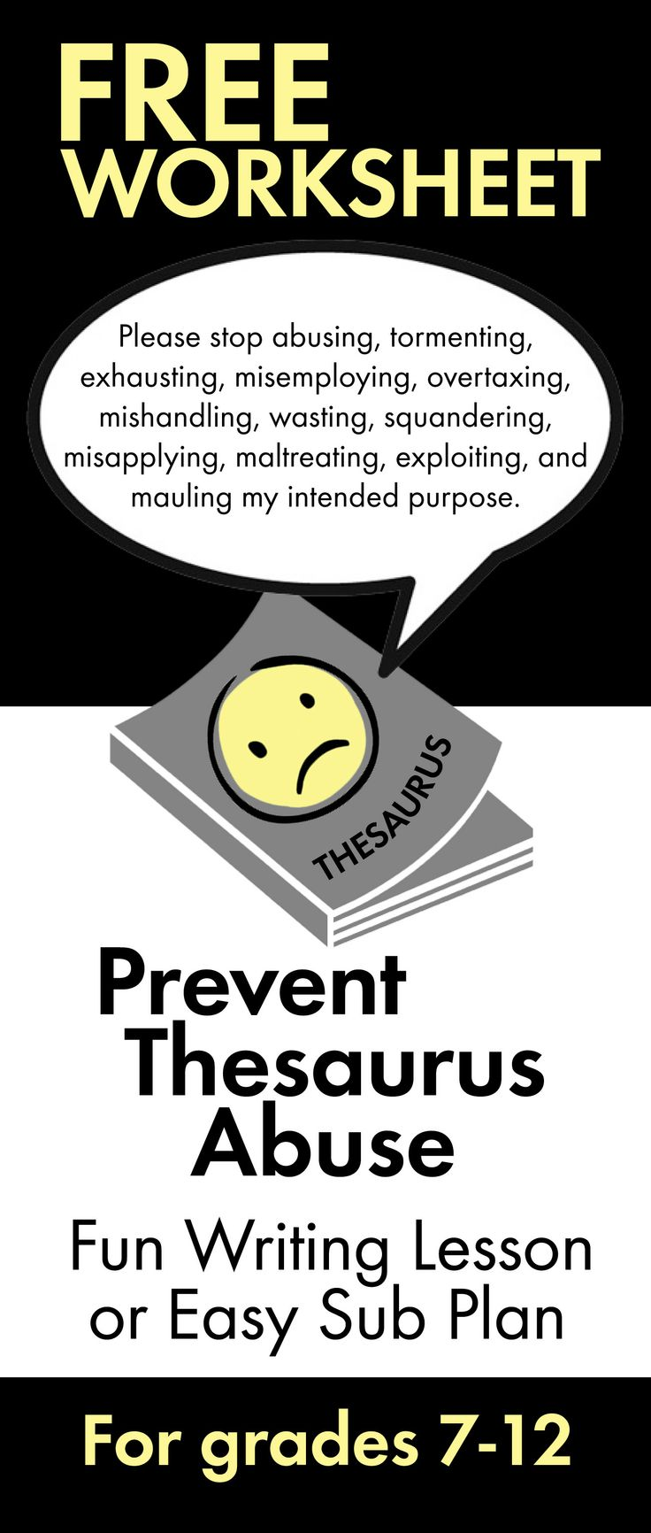 Click HERE for a fun writing lesson. Just print and teach! #thesaurus