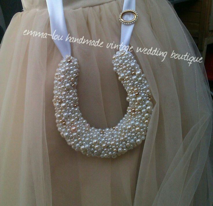 Glass pearl beaded Bridal Horseshoe, each bead has been hand sewn by emma-lou handmade vintage wedding.
