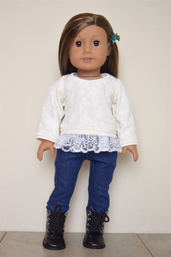 American Girl doll Sweater with Lace by EliteDollWorld on Etsy