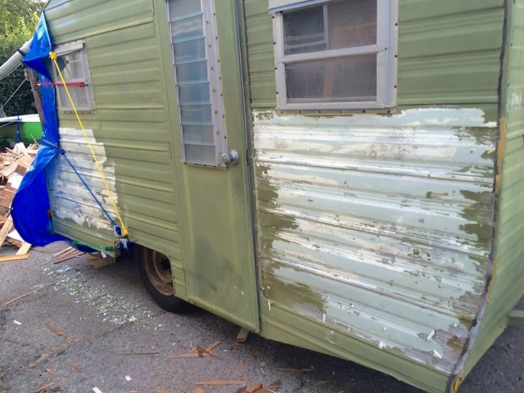 How to strip paint off of a vintage trailer - canned ham