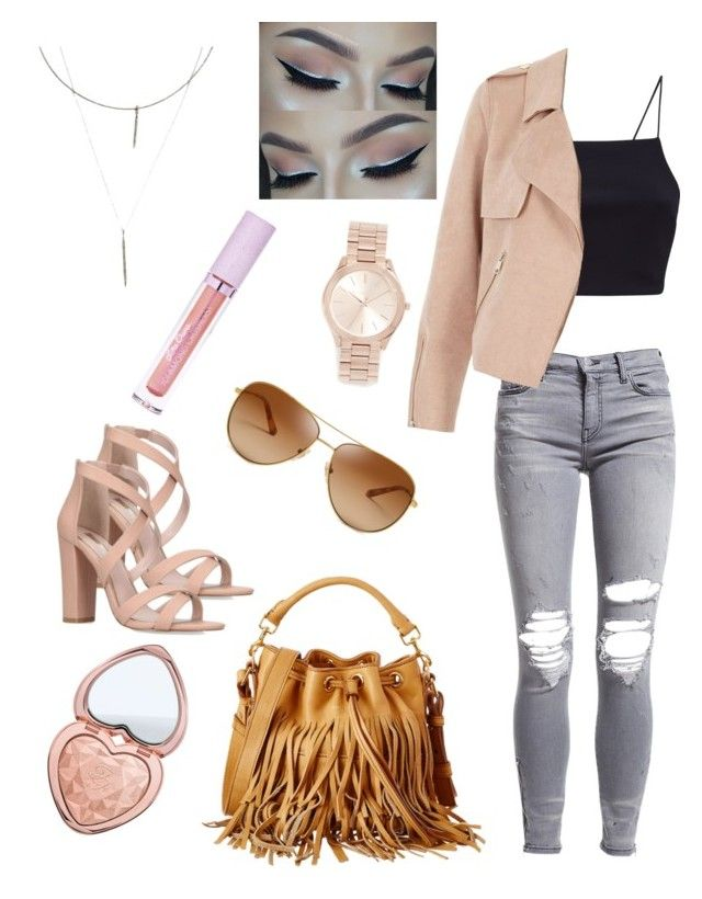Shopping with the girls by sweetmoegee on Polyvore featuring polyvore, fashion, style, River Island, AMIRI, Miss KG, Yves Saint Laurent, Michael Kors, ADORNIA, Tory Burch, Too Faced Cosmetics, Lime Crime, clothing and Bffs