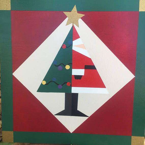 Christmas In The Barn 2020 Kc Santa/christmas tree mini barn quilt   Etsy in 2020   Painted barn