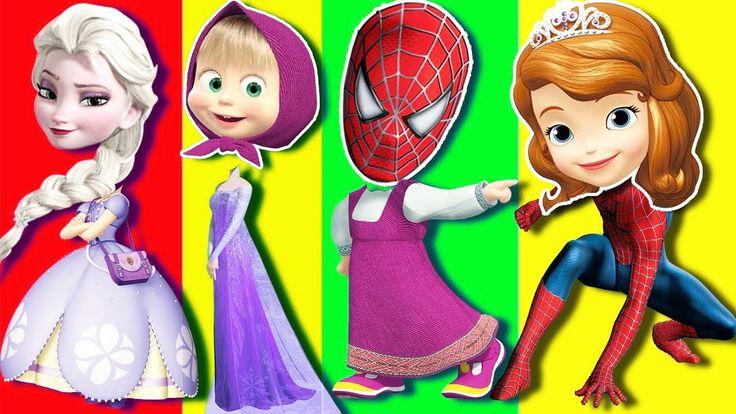 Aprende los colores Frozen Elsa Spiderman Masha - Colores Para Niños - V...