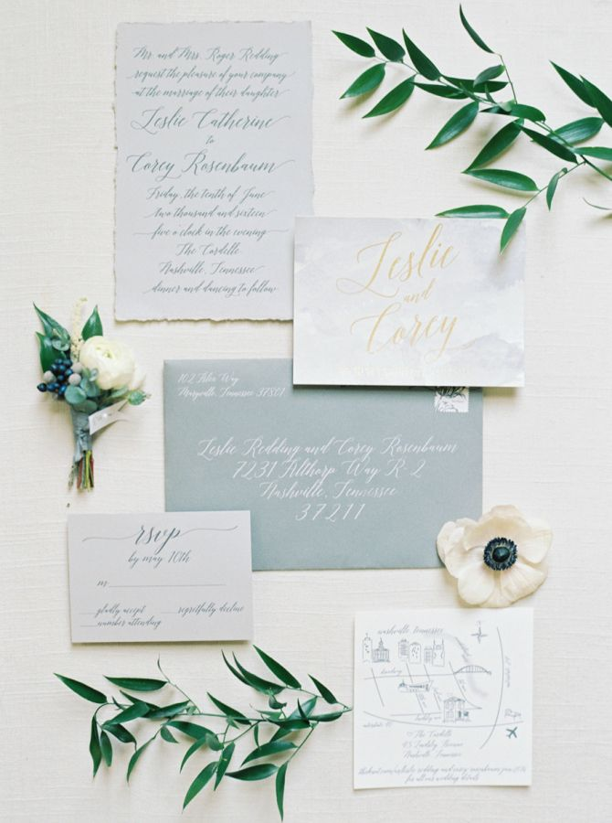 Rustic slate and white wedding invitation paper suite: http://www.stylemepretty.com/2016/11/07/rustic-elegant-nashville-wedding/ Photography: Cassidy Carson - http://www.cassidycarsonphotography.com/#cassidy-carson-photography