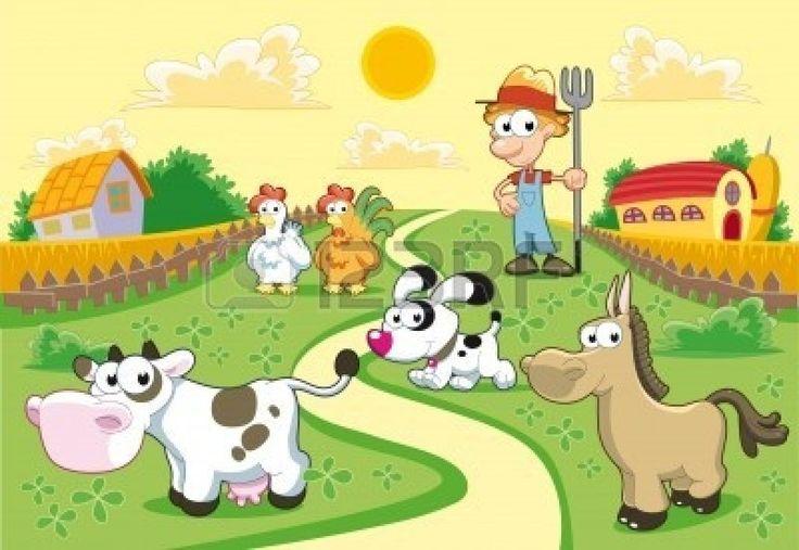 Familia de granja con el fondo. Ilustración de dibujos animados y vector divertido. Foto de archivo