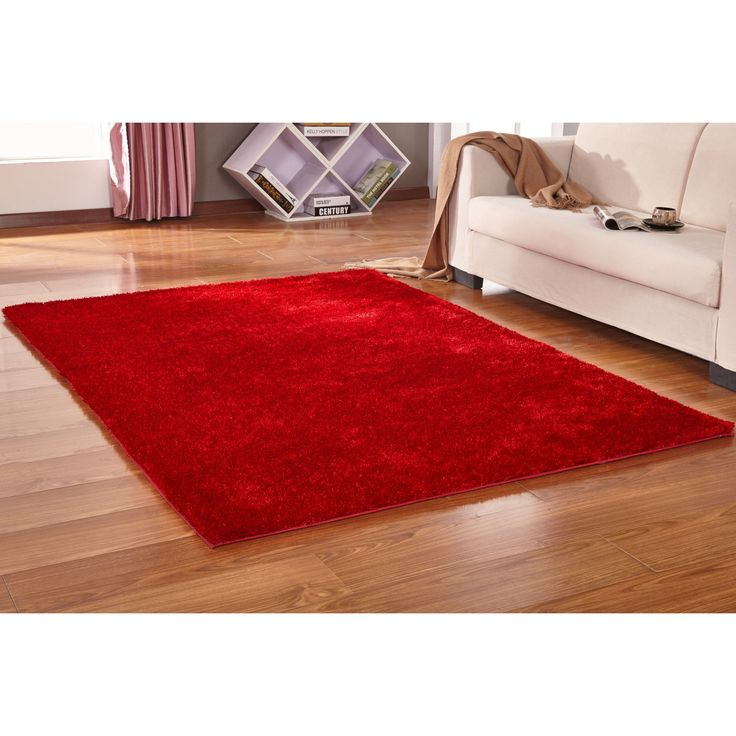 Solid Red Shag Rug Hand Tufted Weaving, 1-inch Thickness - 5' x 7', Size 5' x 7'