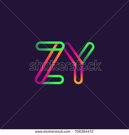 initial logo letter ZY, linked outline colorful rounded logotype.