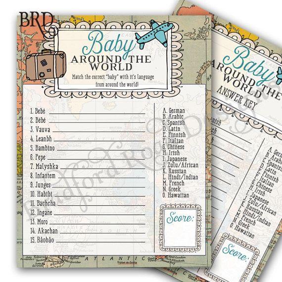 "World Traveler Baby Shower GAME & Key ""Baby"" Around the World Game Shower Precious Cargo Shower Map Invitation Travel Adventure Shower by BradfordPartyDesigns on Etsy https://www.etsy.com/listing/271302292/world-traveler-baby-shower-game-key-baby"