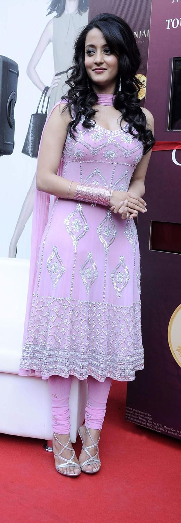 Raima Sen in Designer Bollywood Replika Suit With Embroidery in Pink