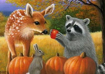 Raccoon Fawn Bunny Rabbit Fall Harvest Autumn Limited
