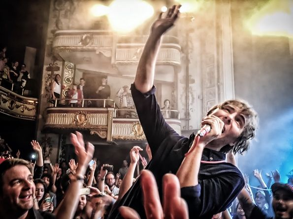 Thomas Mars of Phoenix performs at the Apollo Theater in Harlem, New York on May 13th, 2013.