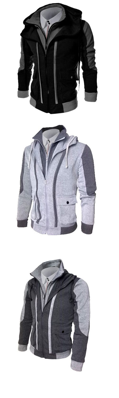 Men's Plus Size Sports Casual/Daily Simple  Color Block Cotton Polyester Long Sleeve Hoodie Jacket