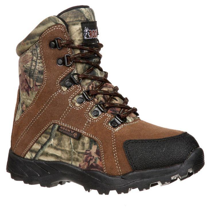 Boy's Rocky Waterproof Camo Hiking Boots - Brown 11.5M, Size: 11.5