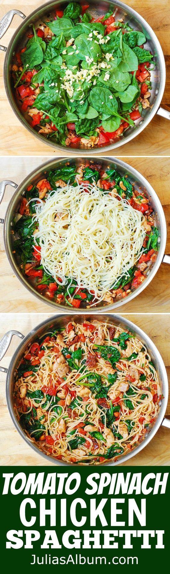 Tomato Basil and Spinach Chicken Spaghetti healthy light Mediterranean