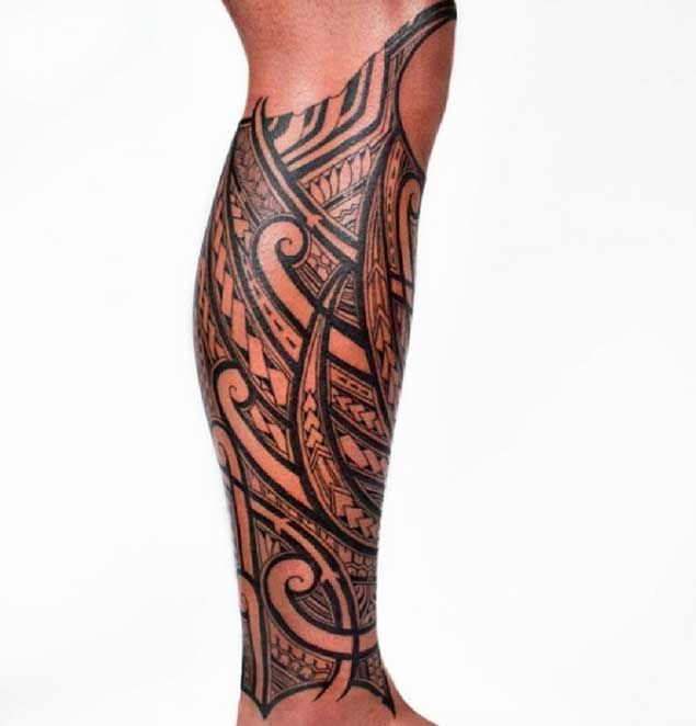 Tribal Tattoo on Leg by Kenny Brown