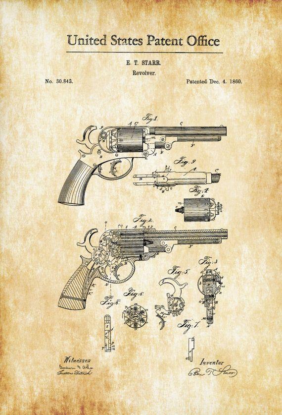 Un cartel de impresión patente de un revólver de Starr de 1860 inventado por E. T. Starr. La patente fue emitida por la oficina de patentes de Estados Unidos el 04 de diciembre de 1860. Un revólver Starr (Starr DA) es un revólver de doble acción que se utilizó en el teatro occidental de la Guerra Civil Americana. Grabados de patentes le permiten tener un pedazo de la historia en su hogar, oficina, hombre de cueva, guarida de Geek o dondequiera que usted desea añadir un toque interesante…