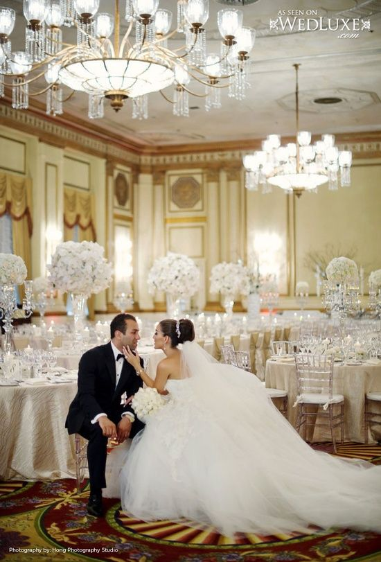 dream wedding. reception wedding. husband and wife photo. marriage photo idea. wedding gown. white centerpieces. reception.