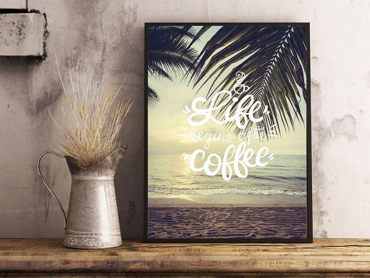 Life Begins With Coffee Printable Beach Sunrise by VinniAndOlliesMumma on Etsy