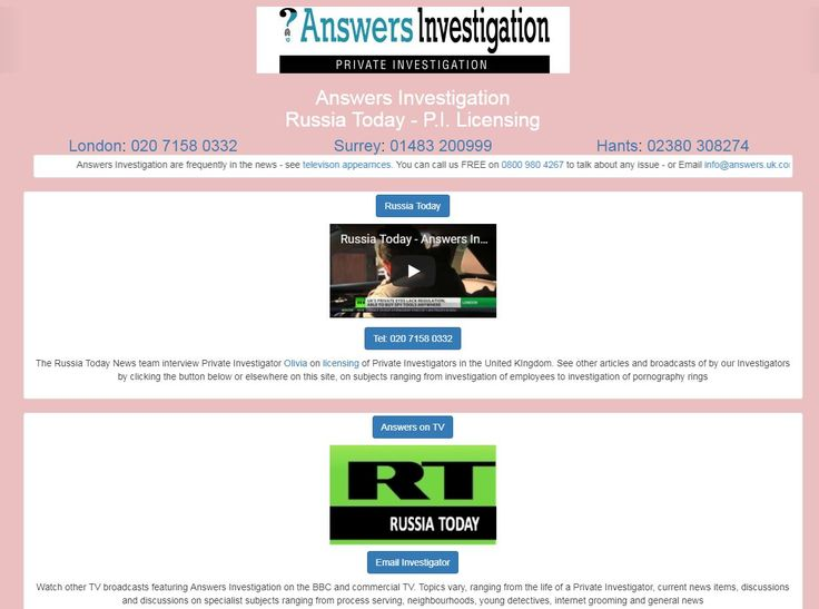 Russia Today – Private Investigator:http://www.answers.uk.com/admin/russiatoday130410.htmThe Russia Today News team interview Private Investigator Olivia on licensing of Private Investigators in the United KIngdom.Tel:: 01483 200999http://www.answers.uk.com