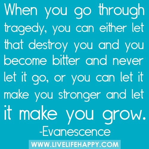 When you go through tragedy, you an either let it destroy you and become bitter and never let it go, or you can let it make you stronger and let it make you grow. ~ Evanescence. Grief. Mourning. Loss. Death. Loss.