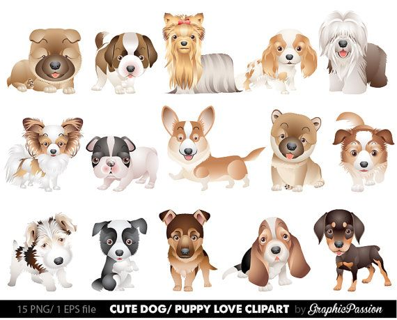 Our Dog Clipart Puppy Clipart set comes with 15 PNG files with transparent backgrounds . These puppies are easy to recolor and resize in your favorite image editing software. The images are 300 dpi and approximately 10 inches at their widest point. *LIKE TO ORDER MORE ITEMS? CHECK
