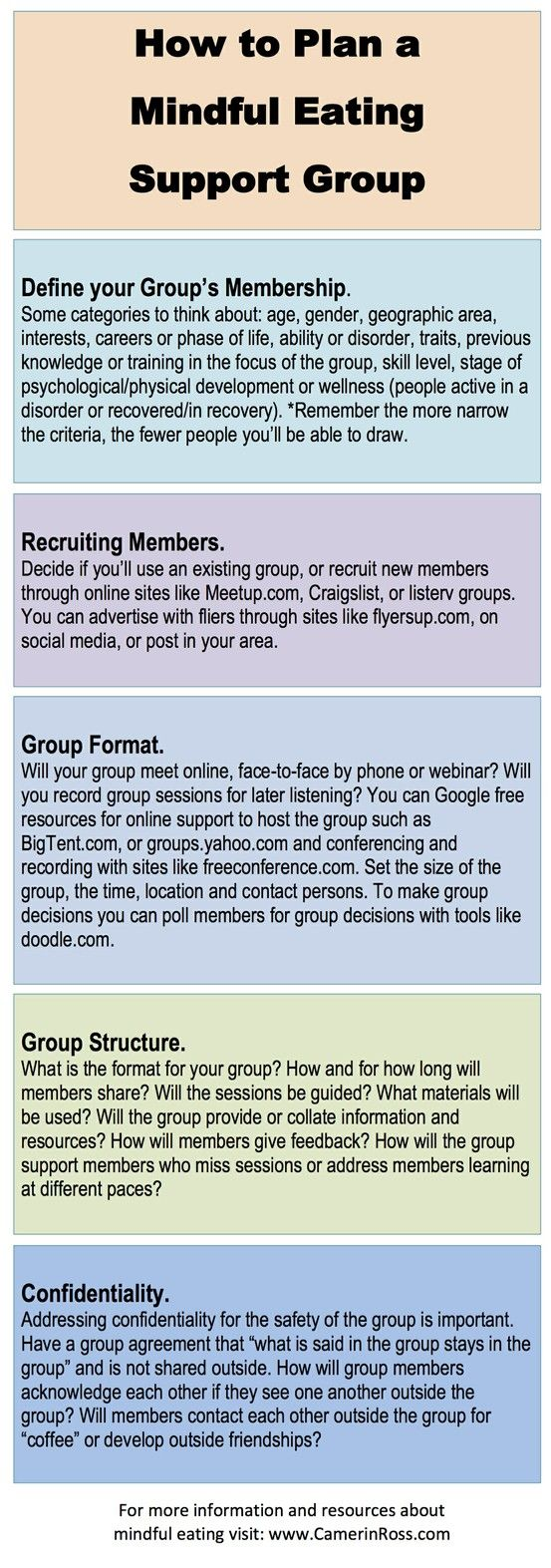 How To Plan A Mindful Eating Support Group | www.CamerinRoss.com | rePinned by APTEDsf.org