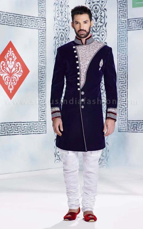 sherwani for men, sherwani uk, Asian clothes, wedding sherwani, Indian sherwani, velvet sherwani indo western, Navy Blue velvet sherwani, mens wedding sherwani www.statusindiafashion.com