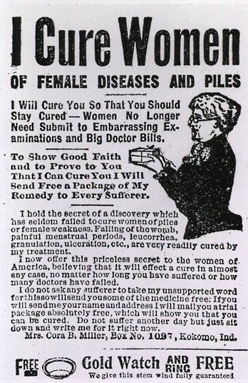 An advert from 1912 for a product which consisted mainly of cocoa butter, claiming to offer treatment for female diseases and piles  Picture: SPL / Barcroft Media