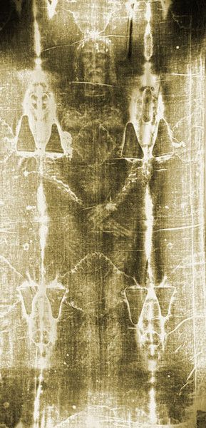 The Shroud of Turin is the cloth which Jesus was wrapped in after being crucified, when he was put in the tomb (Mt 27:59f; Mk 15:46; Lk 23:53; 24:12; Jn 20:5-8). It bears an image of a crucified man on it, front and back, as well as very accurate bloodstains; presumably from the wounds. When the Shroud is photographed, becomes much more clear, appearing to be 3-dimensional.  Amazing!