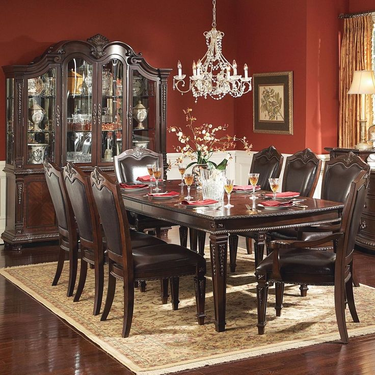 TRIBECCA HOME Tusca Traditional 9 Piece Dark Brown Extending Dining With China C