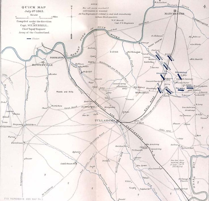 July 5, 1863: James wrote about crossing flooded streams during the final movements of the Tullahoma Campaign. This map shows the location of the Army of the Cumberland between Manchester and Tullahoma, Tennessee, including James's division led by Major General Jefferson C. Davis. Quick Map, July 4th, 1863. Atlas to Accompany the Official Records of the Union and Confederate Armies. Washington: Government Printing Office, 1891–1895. Missouri History Museum.