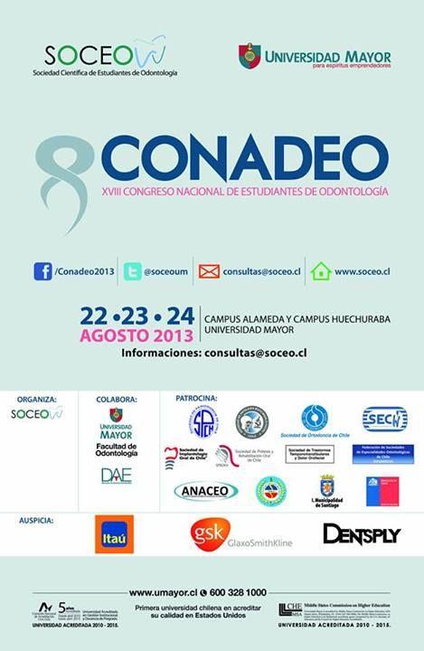 XVIII Congreso Nacional de Estudiantes de Odontología. ATENCIÓN! Mañana termina el plazo para entrega de trabajos y el 9 de Agosto finaliza la 2da convocatoria. Participa!  #congreso #odontología #conadeo #umayor