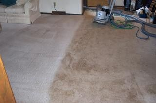 This images shows half way through cleaning a lounge room. The before and after shows a huge difference!