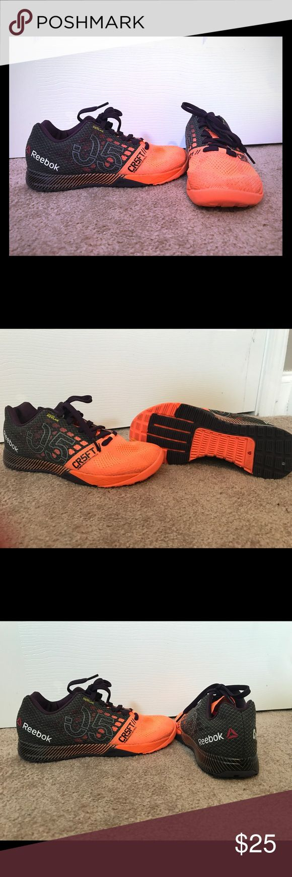 Size 6.5 Official Reebok Crossfit Games shoes Size 6.5 true to size, orange and charcoal with purple laces. Extra set of orange laces included. Official 2015 Crossfit Games edition. Reebok Shoes Sneakers