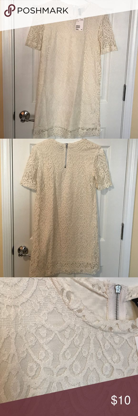 "H&M Cream Lace Shift Dress Beautiful cream lace dress with sleeves, 34"" from shoulder to bottom hem H&M Dresses"