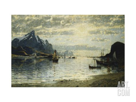 A Fjord Scene with Sailing Vessels Art Print by Normann Adelsteen at Art.co.uk