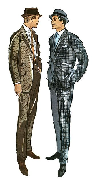 1956 Men's Fashions ~ illustration by Bob Yemne color print ad suit jacket pants tie hat shoes male men mid 50s day wear office brown blue vintage style