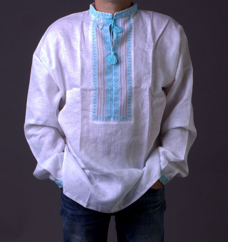 VYSHYVANKA Man Ukrainian Embroidered LINEN White turquoise SHIRT HALLOWEEN GIFT #wooyko #Folk
