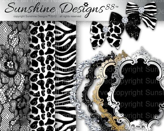 Animal Scrapbook Kit Bow Frames Zebra Digital by SunshineDesigns88, $5.98