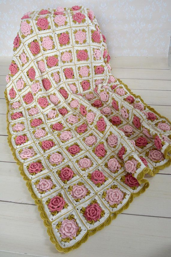 Crochet Vintage Rose Bedspread Crochet Throw Handmade